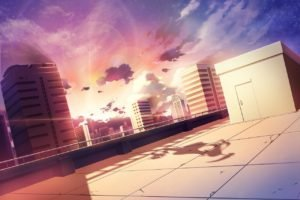 anime, Sunlight, Building, Rooftops, Skyscraper, Soft shading