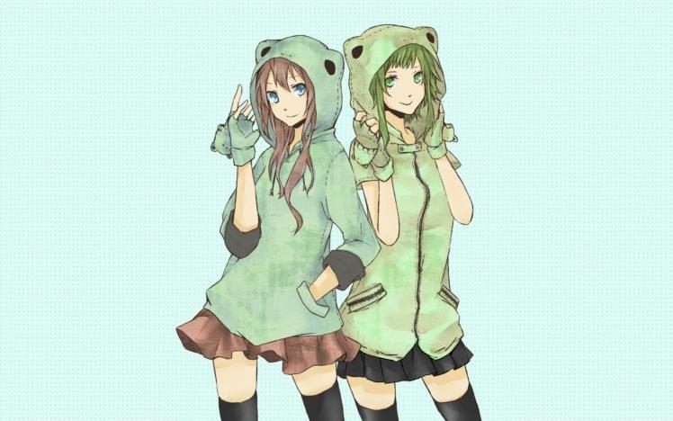 anime girls, Vocaloid, Megpoid Gumi, Megurine Luka, Green HD Wallpaper Desktop Background