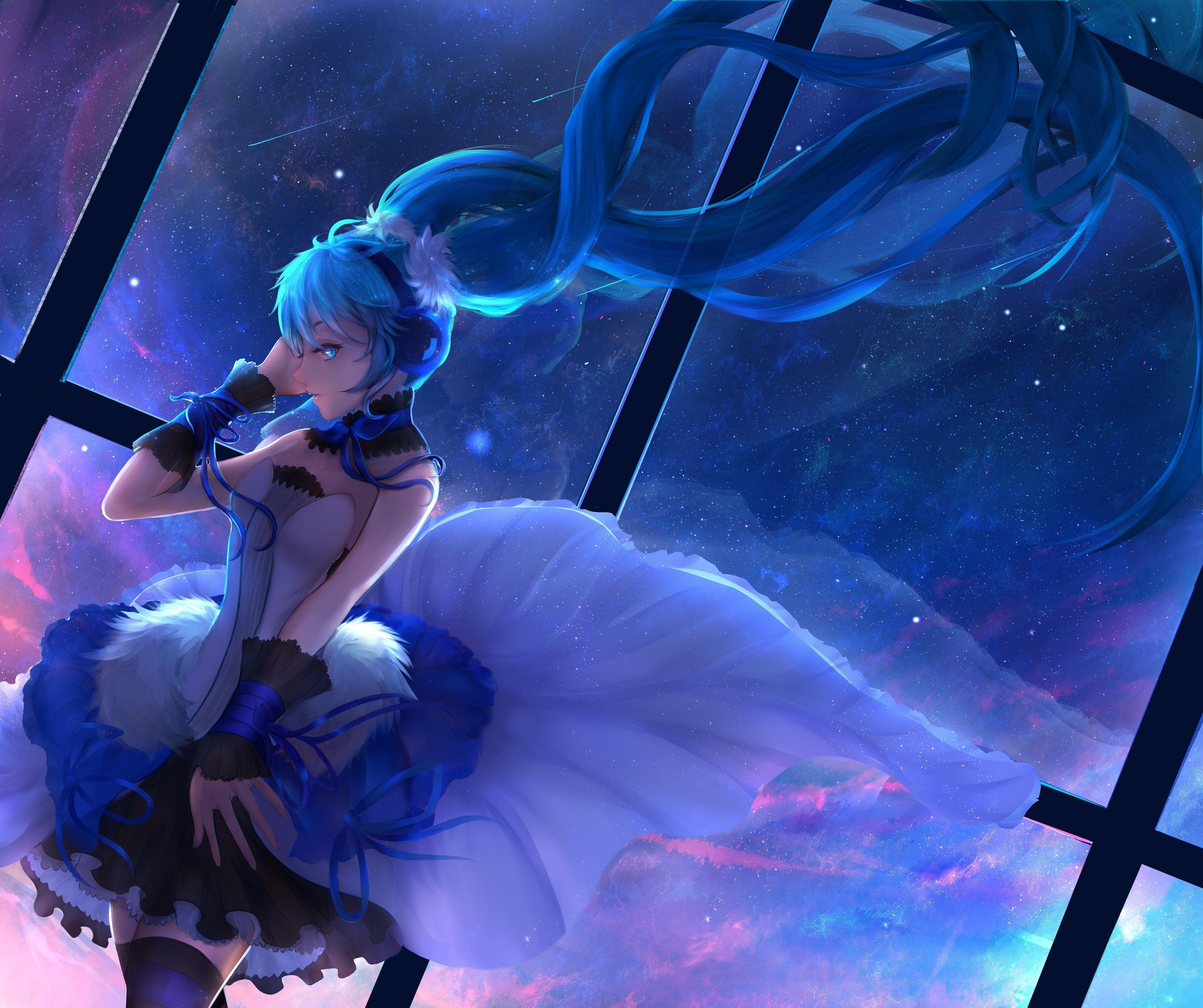 Anime, Girl, Singing, Hatsune Miku, Vocaloid, 4k Wallpaper