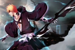 Kurosaki Ichigo, Bleach, Anime boys, Weapon, Orange hair