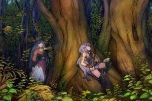 anime girls, Soft shading, Trees