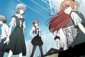 Neon Genesis Evangelion, Anime, Ayanami Rei, Makinami Mari Illustrious, Ikari Shinji, Asuka Langley Soryu