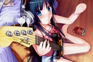 K ON!, Anime girls, Anime, Akiyama Mio, Bass guitars, Music