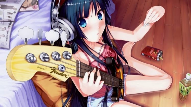 K ON!, Anime girls, Anime, Akiyama Mio, Bass guitars, Music HD Wallpaper Desktop Background