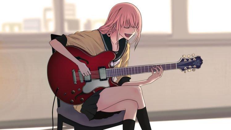 Vocaloid Music Megurine Luka Anime Girls Guitar Hd Wallpapers