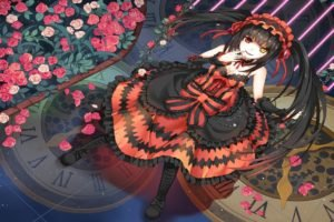 Date A Live, Tokisaki Kurumi, Red dress, Long hair, Twintails, Headband, Ribbon, Boots, Heterochromia, Flowers, Anime girls, Anime