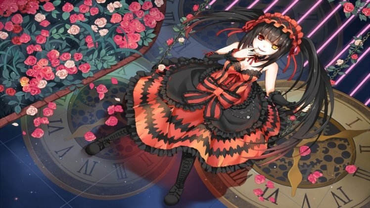 Date A Live, Tokisaki Kurumi, Red dress, Long hair, Twintails, Headband, Ribbon, Boots, Heterochromia, Flowers, Anime girls, Anime HD Wallpaper Desktop Background