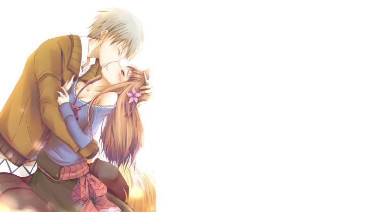 Spice And Wolf Holo Kissing Lawrence Kraft HD Wallpaper Desktop Background