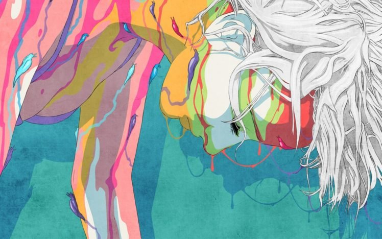 Colorful Artwork Women Body Paint Closed Eyes White Hair Looking Down Hd Wallpapers Desktop And Mobile Images Photos