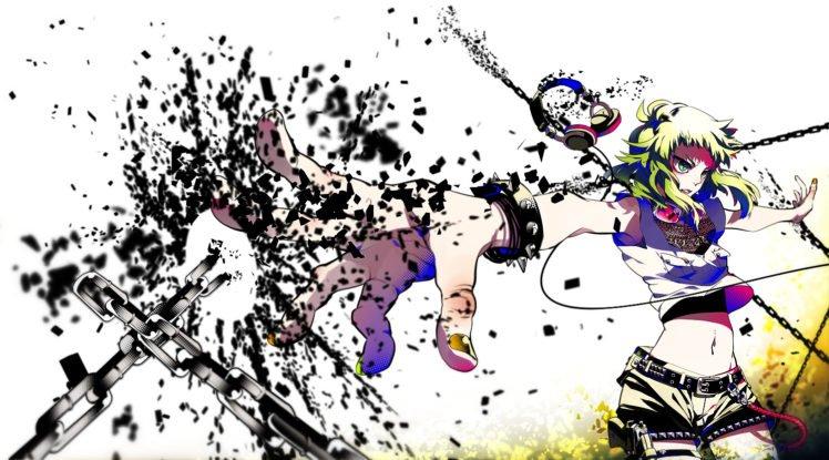anime, Colorful, Megpoid Gumi, Vocaloid, Chains, Headphones HD Wallpaper Desktop Background