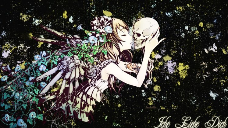 anime girls, Skull, Kissing, Original characters HD Wallpaper Desktop Background