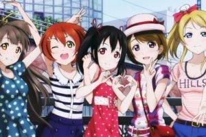 anime girls, Anime, Love Live!, Ayase Eri, Hoshizora Rin, Koizumi Hanayo, Kousaka Honoka, Minami Kotori, Nishikino Maki, Sonoda Umi, Toujou Nozomi, Yazawa Nico, Group of women, Multiple display