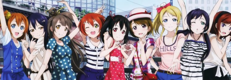 anime girls, Anime, Love Live!, Ayase Eri, Hoshizora Rin, Koizumi Hanayo, Kousaka Honoka, Minami Kotori, Nishikino Maki, Sonoda Umi, Toujou Nozomi, Yazawa Nico, Group of women, Multiple display HD Wallpaper Desktop Background