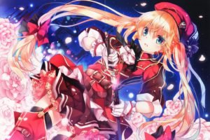 flowers, Sword, Anime, Anime girls, Original characters, Twintails