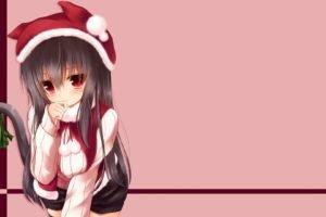 animal ears, Anime girls, Christmas, Original characters
