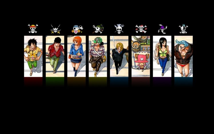 One Piece, Monkey D. Luffy, Roronoa Zoro, Nami, Usopp, Sanji, Tony Tony Chopper, Nico Robin, Jolly Roger, Anime HD Wallpaper Desktop Background