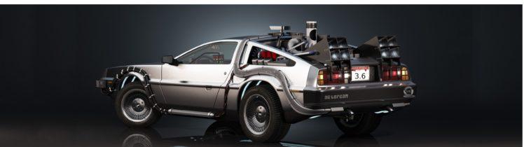 DMC DeLorean, DeLorean, Back to the Future, Car, Dual monitors, Multiple display HD Wallpaper Desktop Background
