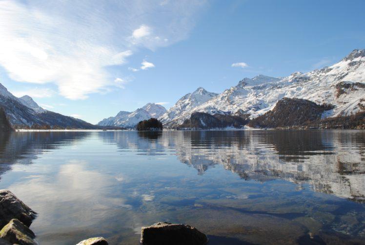 lake, Engadin Valley, Landscape, Mountains, Switzerland, Swiss Alps, St. Moritz, Snow, Stones, Reflection, Clear sky, Clouds, Nature HD Wallpaper Desktop Background