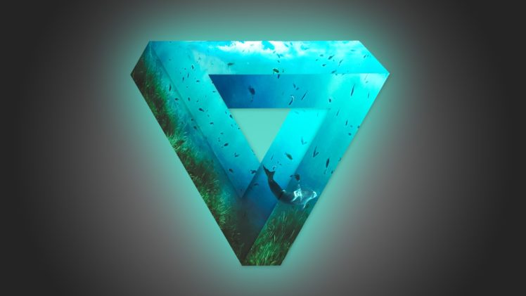 soft gradient, Triangle, Glowing, Fish, Photoshop, Whale, Penrose triangle, Underwater HD Wallpaper Desktop Background