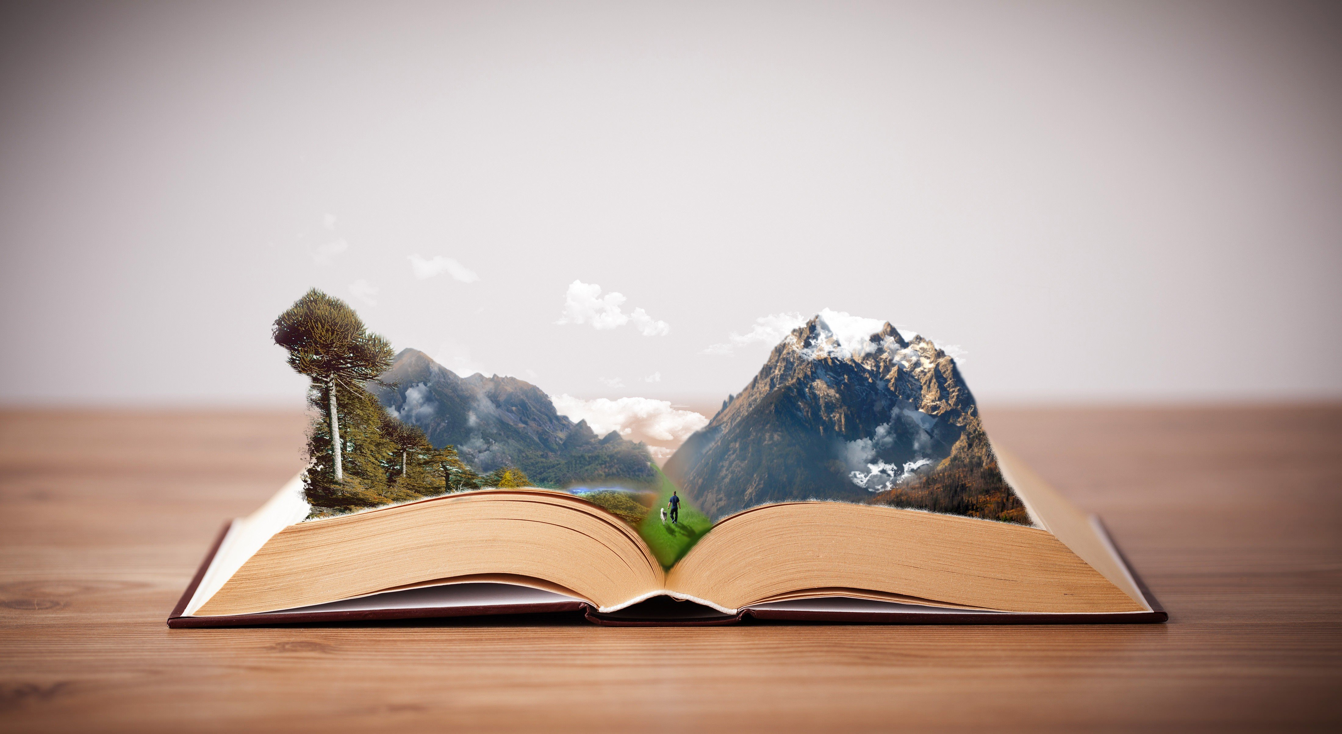 Book Art Hd Wallpaper: Books, Mountains, Photoshop, Imagination, Peaceful HD