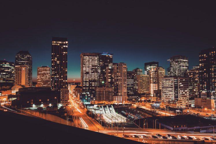 city, Lights, Cityscape, Night HD Wallpaper Desktop Background