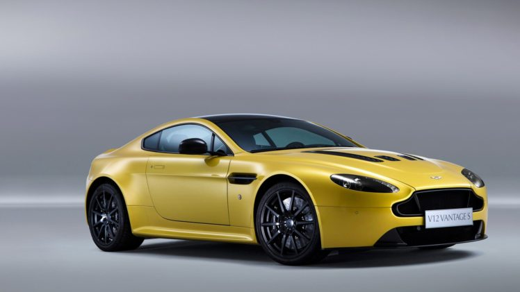 Aston Martin V12 Vantage Car Vehicle Yellow Cars Gray Background