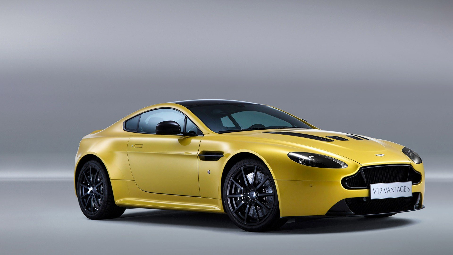 Aston Martin V12 Vantage Car Vehicle Yellow Cars Gray Background Hd Wallpapers Desktop And Mobile Images Photos