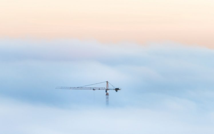 clouds, Cranes (machine) HD Wallpaper Desktop Background