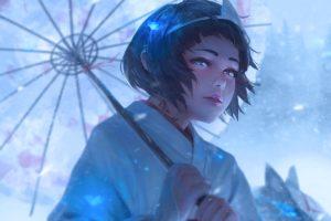 digital art, Artwork, Umbrella, Noragami, Nora (Noragami)