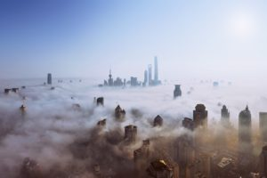 skyscraper, Mist, Heights, Sky, Sun, Cityscape, Shanghai, Ultra wide