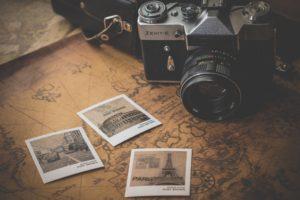 camera, Map, Minimalism, Polaroid