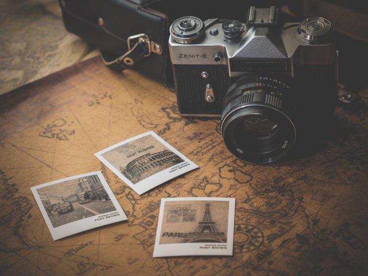 camera, Map, Minimalism, Polaroid HD Wallpaper Desktop Background