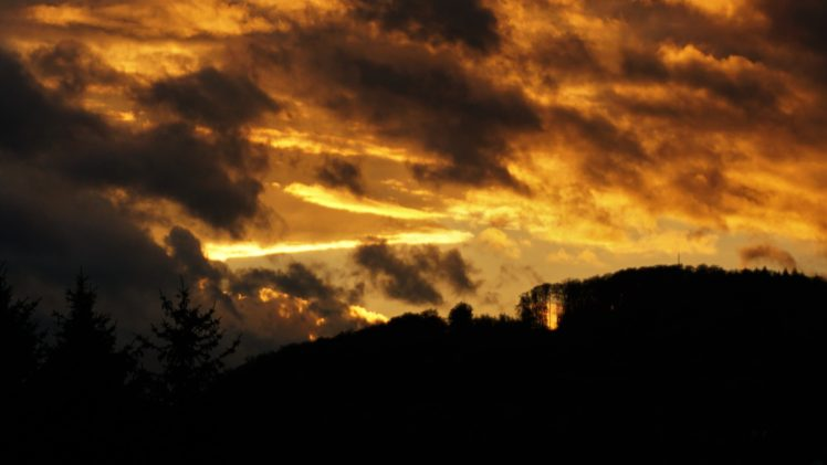 sunset, Clouds, Dark, Nature HD Wallpaper Desktop Background