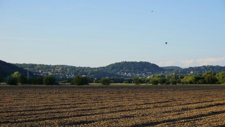 hot air balloons, Field, Clear sky, Landscape HD Wallpaper Desktop Background