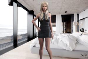 blonde, Women, Blue eyes, Serah reikka, Luxia, Render, CGI, Digital art, 3D, Nails, Blond hair, Bedroom