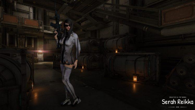women, Serah reikka, Women with glasses, Assault rifle, Rifles, Factory, Black hair, CGI, Digital art, Render HD Wallpaper Desktop Background