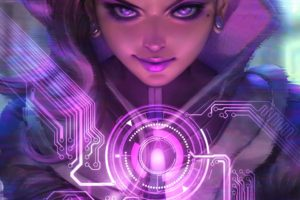 long hair, Purple eyes, Overwatch, Sombra, Sombra (Overwatch), Hacking, Hackers