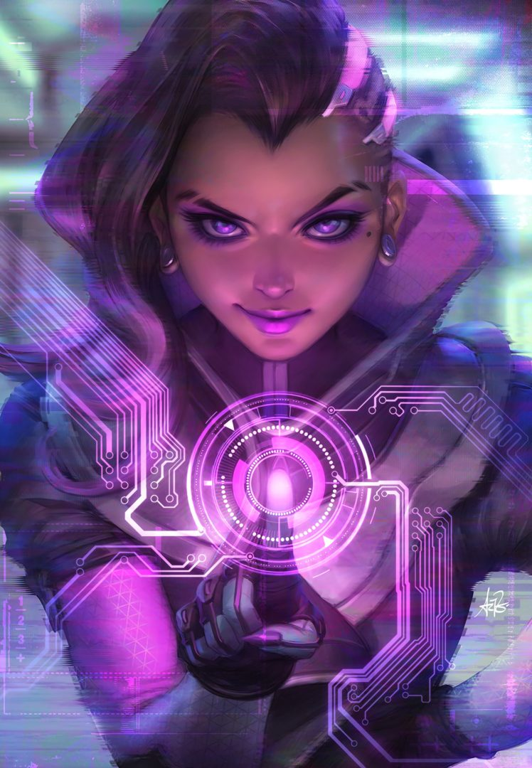 long hair, Purple eyes, Overwatch, Sombra, Sombra (Overwatch), Hacking, Hackers HD Wallpaper Desktop Background
