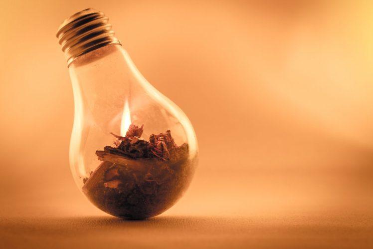 light bulb, Depth of field, Wood, Fire HD Wallpaper Desktop Background