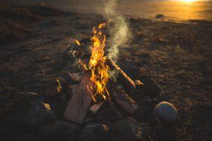 fire, Rock, Wood, Sunset, Smoke
