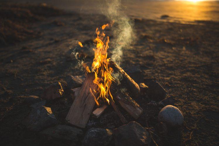 fire, Rock, Wood, Sunset, Smoke HD Wallpaper Desktop Background