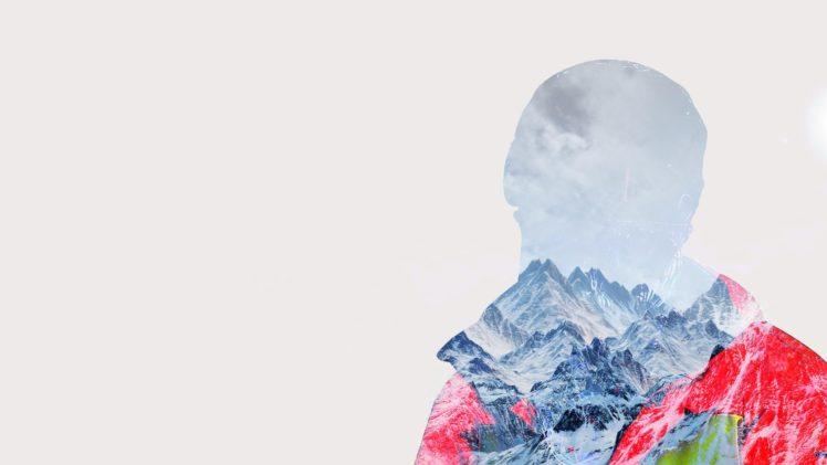 snowboards, Mountain pass, Landscape, Sports, Double exposure HD Wallpaper Desktop Background