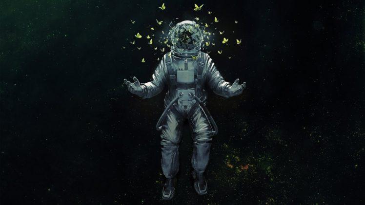 astronaut, Butterfly HD Wallpaper Desktop Background
