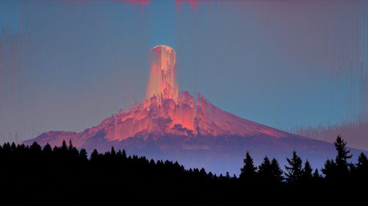 Mountains Pine Trees Glitch Art Hd Wallpapers Desktop
