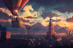 cityscape, Hot air balloons, Horse
