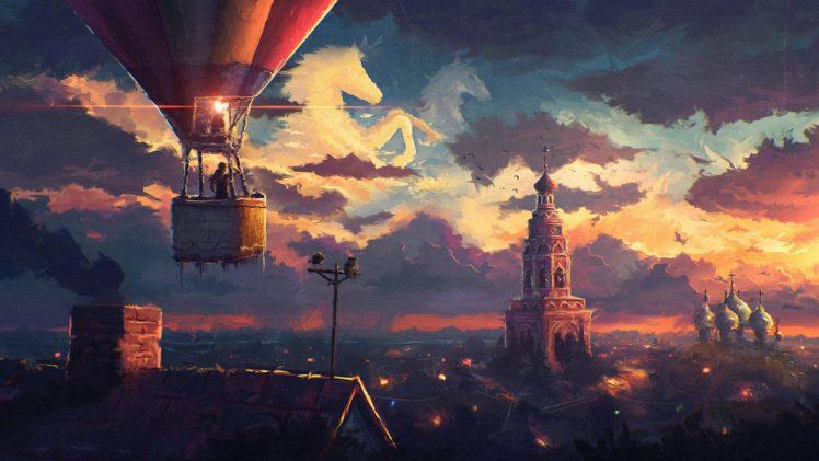 cityscape, Hot air balloons, Horse HD Wallpaper Desktop Background