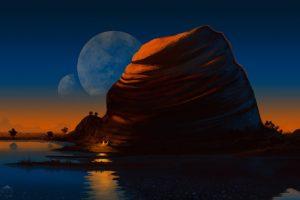 planet, Sea, Rock