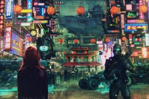 soldier, Science fiction, Cyberpunk, Cityscape, Asian architecture, Neon lights, Ultrawide