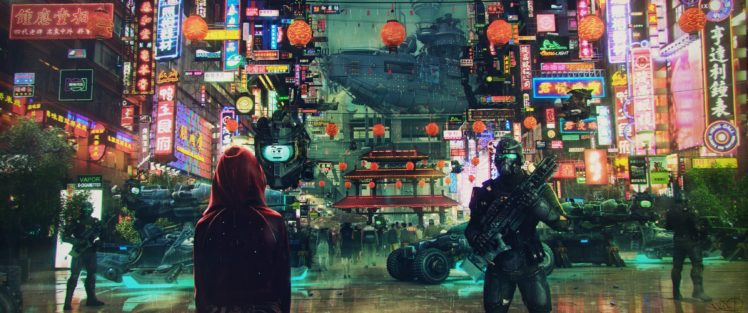 soldier, Science fiction, Cyberpunk, Cityscape, Asian architecture, Neon lights, Ultrawide HD Wallpaper Desktop Background