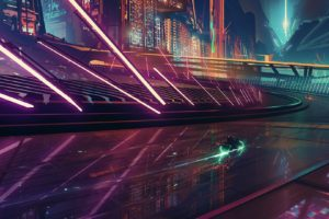 science fiction, Cyberpunk, Motorcycle, Cityscape, Neon, Futuristic city